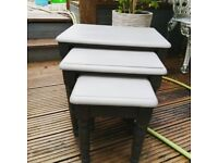 Lively Set of 3 pine tables updated in Graphite and Anthracite with a clear Wax finish