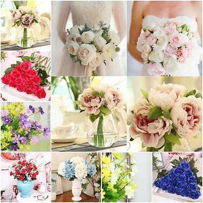 Us Artificial Fake Silk Flower Bouquet Home Bridal Wedding Garden Decor Peony