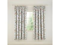 New V&A Peony Blossom Lined Curtains SILVER-167CMX183CM/66X72-RRP £95
