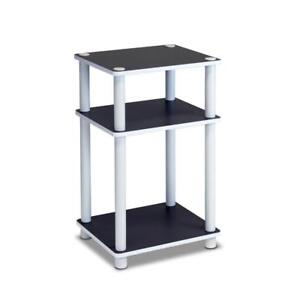 NEW Furinno 11087 Just 3-Tier No Tools Tube End Table, White with White Tube
