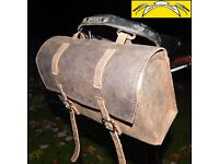New XL Vintage Real Leather Saddle Bag BROWN for bikes or BROMPTON/DAHON/TERN FREE SHIPPING