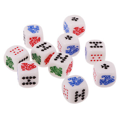 10 Six Sided D6 Poker Dice Set for Party Pub Bar Poker Card Board Game Toys