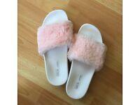Pink faux fur fluffy flatform slides from asos size 8
