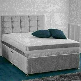 🔵💖🔴CHEAPEST PRICE EVER🔵💖🔴DOUBLE CRUSHED VELVET DIVAN BED BASE WITH DEEP QUILTED MATTRESS