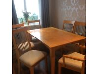 Beech Dining Table 6 Chairs