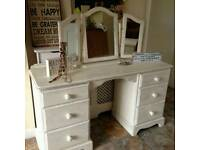 Shabby chic dressing table with a 3 way mirror