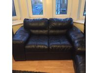 3 piece black leather sofas, 6 years old, from DFS, comes with original leather cleaning kit.