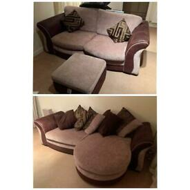4 seater and 3 seater sofa and foot stool