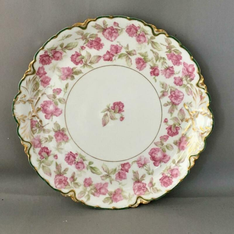 ANTIQUE VTG LIMOGES PORCELAIN BIG PINK ROSE & GOLD GILT CAKE PLATE TRAY PLATTER