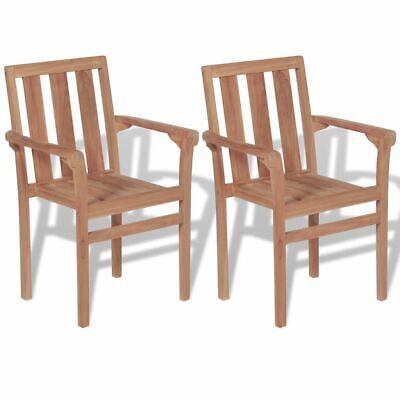 Garden Furniture - vidaXL 2x Solid Teak Wood Outdoor Chairs Patio Outdoor Garden Furniture Seat
