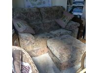 2 seater settee plus puff foot stool. Very comfortable. From smoke free home. Good condition .NG23.