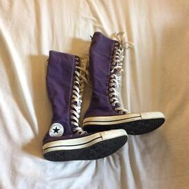 Knee high purple converse trainers