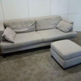 very large DFS French Connection designed sofa with storage footstool