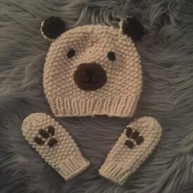 Matching teddy bear baby hat and mittens