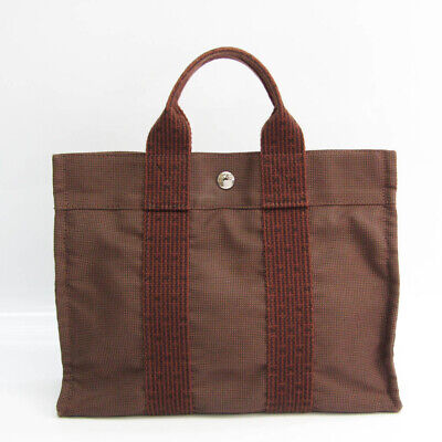 Hermes Her Line PM Unisex Polyamide,Polyester Tote Bag Brown BF526287