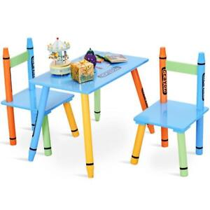 3 Piece Crayon Kids Table & Chairs Set Wood Children Activity Playroom Furniture - BRAND NEW - FREE SHIPPING