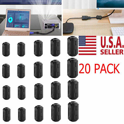 20X Cable Clips Clip-on Ferrite Ring Core EMI RFI Noise Suppressor Filter Beads