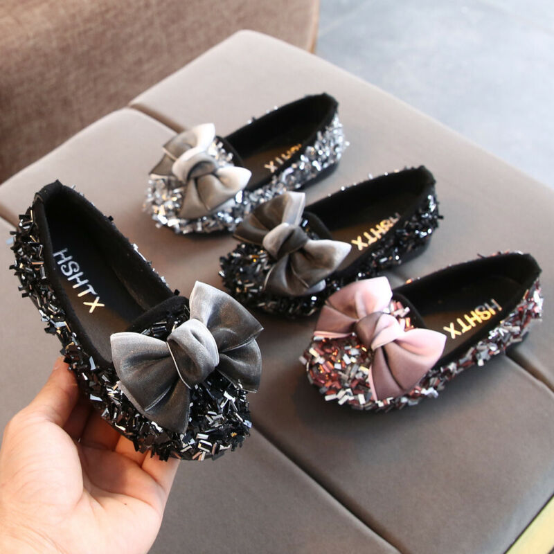 Toddler Infant Kids Baby Girls Bow Crystal Bling Casual Prin