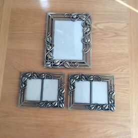 Set of 3 Photo Frames. Antique Brass Effect Frame. Good condition.