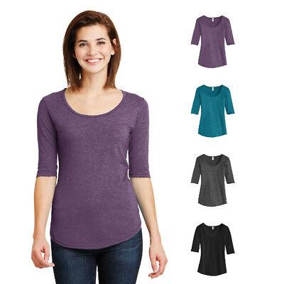 Anvil Ladies Tri-Blend Deep Scoop Neck 1/2-Sleeve Tee Womens Soft T-Shirt 6756L