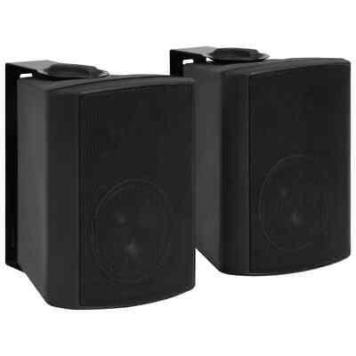 vidaXL 2x Altavoces Estéreo de Pared Negro Interior/Exterior 80 W Bass Reflex