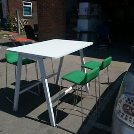 White canteen table without chairs