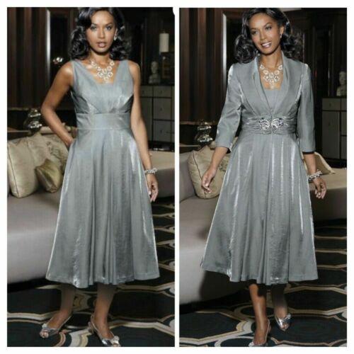 Midnight Velvet Elegant Jacket Dress Silver Mother of the Bride 10 14 16 18W
