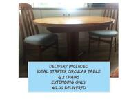 DELIVERY INCLUDED - IDEAL STARTER EXTENDING CIRCULAR TABLE & 2 CHAIRS