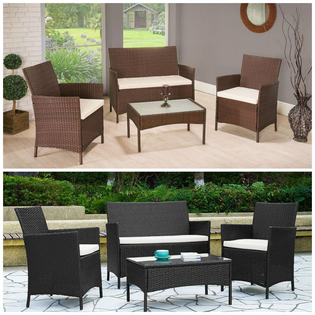 Brand new 4pc rattan garden patio furniture set in black for Outdoor furniture gumtree