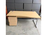 Oak Wave Right Hand Desk with Pedestal