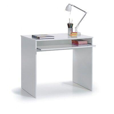 Mesa de ordenador, trabajo oficina o despacho con bandeja extraíble blanca