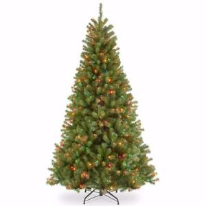 National Tree 7 1/2 Foot Hinged North Valley Spruce Tree with 550 Multi-Colored Lights, CSA (NRV7-301C-75)