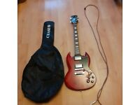 Spear SG S-100F Flamed Maple Top transparent Wine Red Electric Guitar with free amp and lead