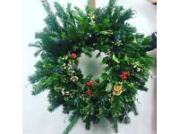 Christmas wreath handmade natural foliage and flowers