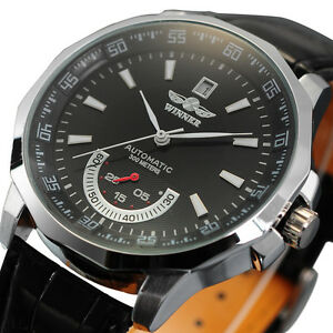 Luxury-Automatic-Mechanical-Date-Analog-Black-Leather-Strap-Men-Wrist-Watch-Gift