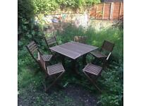 High quality wood garden set with 6 chairs