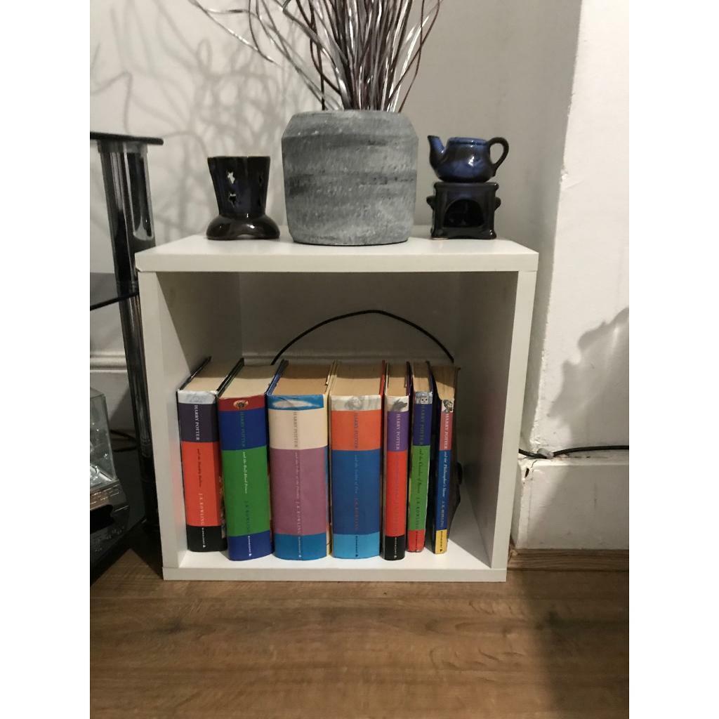 Singular White Wooden Box Shelving Unit