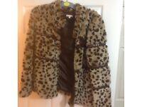 GIRLS Bluezoo pretty Leopard print FUR COAT age 14