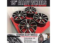 "4 BRAND NEW 19"" ALLOYS WHEELS TO FIT VW GOLF SANTIAGO GTD GTI R R32 MK 5 6 7 8 9 TIGUAN TOURAN"
