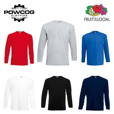 FRUIT OF THE LOOM • Mens Plain Long Sleeve Cotton T Shirt Tee 61038 • 6 COLOURS