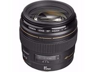 Canon 85mm f1.8 USM with Hoya UV Filter (mint condition)