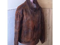 Beautiful Soft Luxury Real Leather Biker Style Men's Jacket Large L Size