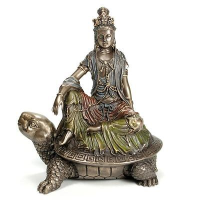 "KWAN YIN ON TORTOISE STATUE 6"" Bronze Resin Buddha HIGH QUALITY Guan Quan Turtle"