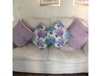 Duck egg blue and lilac cushions for sale