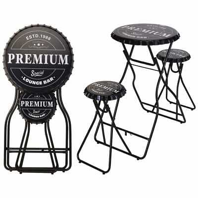 Ambiance Foldable Bar Table with Stools Black Folding Pub Stand Breakfast Desk