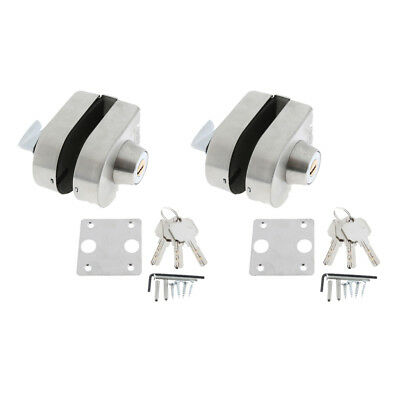 2x 10-12mm Glass Door Lock Stainless Steel Bolts Swing Push Sliding with Key