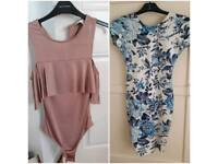 Size 6 Miss Selfridges bodysuit and Quiz dress bundle
