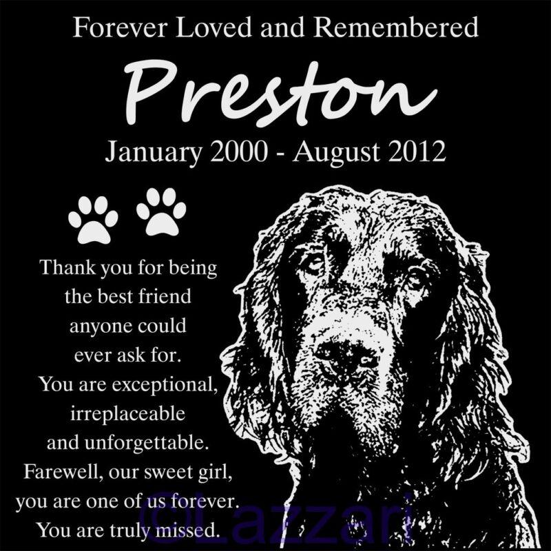 Personalized Gordon Setter Dog Pet Memorial 12x12 Granite Grave Marker Headstone