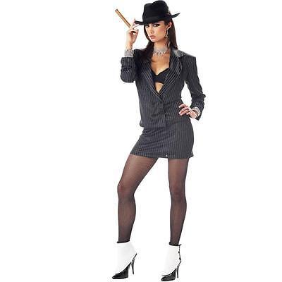 Ladies Mafia Costume (NEW Women's Sexy Mafia Princess Gangster Lady Halloween Costume)