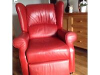 Spanish red leather armchair